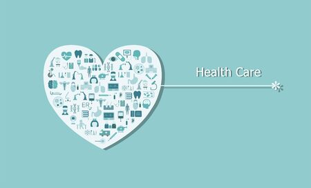 Health care concept with medical icons on heart shape flat design vector illustration Ilustracja