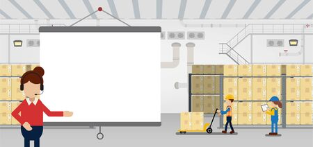 Empty screen Projector in warehouse with workers working flat design vector illustration