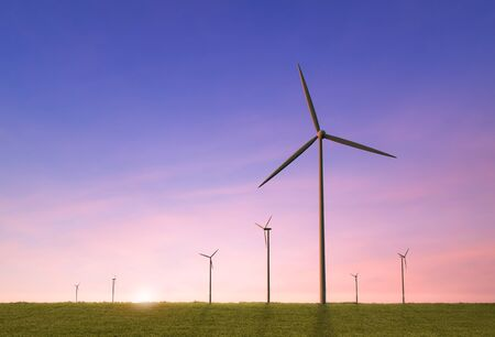 Green power concept with 3d rendering wind mill farm
