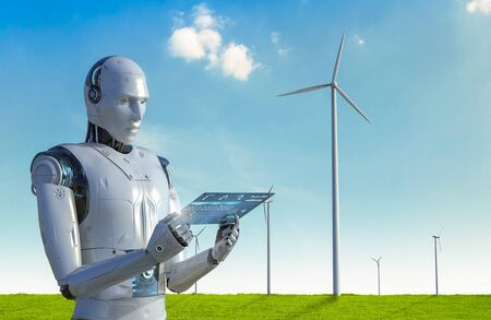 Green power technology concept with 3d rendering cyborg work in wind mill farm