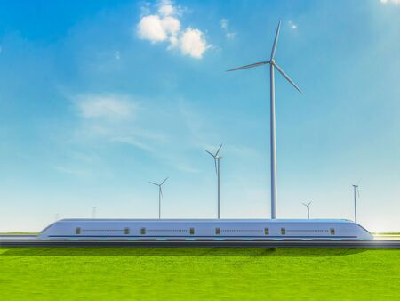 Green power for transportation business concept with 3d rendering passenger train in wind mill farm 스톡 콘텐츠
