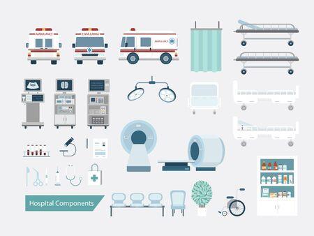 Ensemble de composants ou d'éléments de l'hôpital illustration vectorielle de conception plate