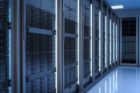 3d rendering server room or data center Stock Photo