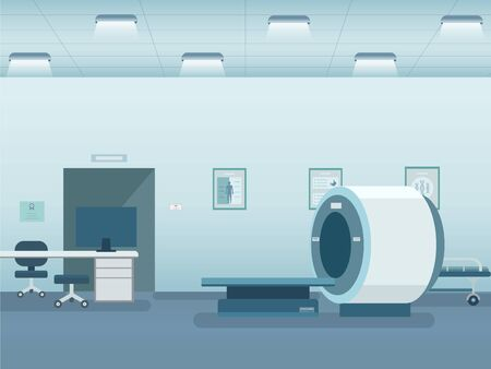Hospital interior with mri scanner vector illustration Ilustracja