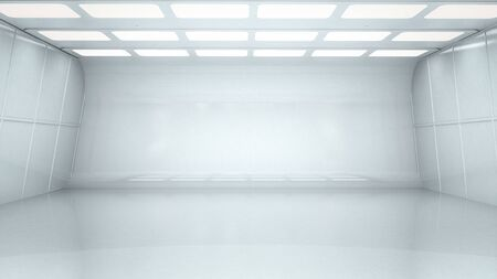 3d rendering interior white and clean empty room or factory Stock Photo