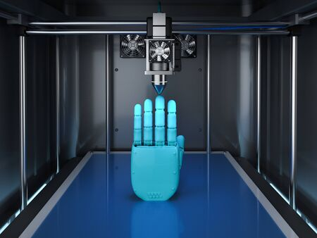 3d rendering 3d printer with robotic hand