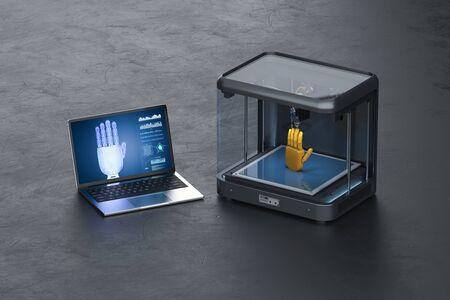 3d rendering 3d printer print robot hand