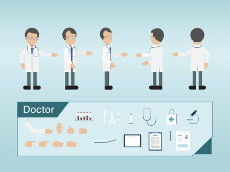 Set of male doctor characters wear white gown vector illustration