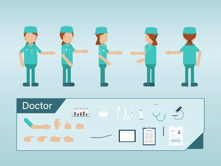 Set of surgeon characters wear green gown vector illustration