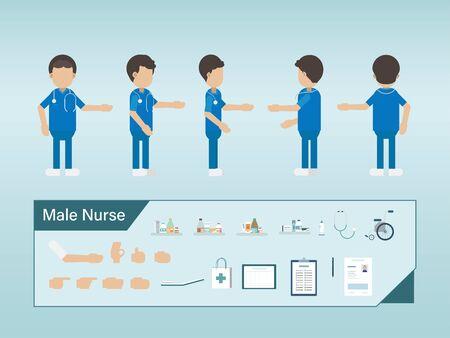Set of male nurse characters wear blue uniform vector illustration Illustration