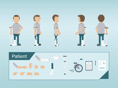 Set of patient characters with splint and crutch vector illustration Ilustracja