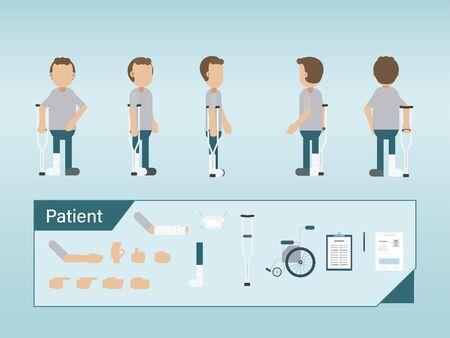 Set of patient characters with splint and crutch vector illustration Ilustração
