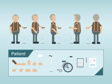 Set of senior patient characters hold walking stick vector illustration Ilustracja