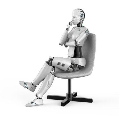 3d rendering female cyborg sit in chair Imagens