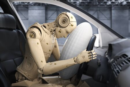Crash test with 3d rendering dummy hit with air bag Stock Photo