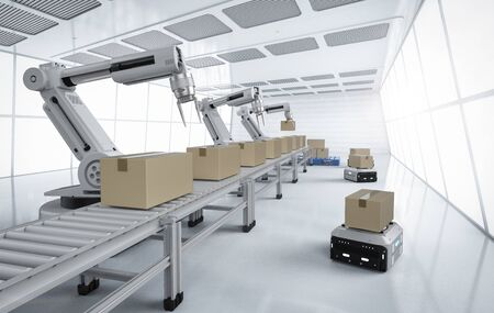 Automation factory concept with 3d rendering robot arms with boxes on conveyor line in factory