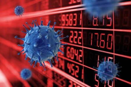 Financial crisis concept with 3d rendering coronavirus cell or covid-19 cell stock market