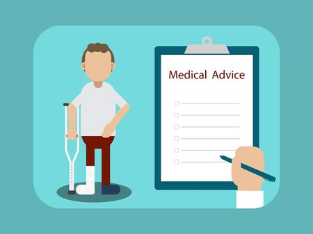 Medical advice for injured patient with hand on blank checklist vector illustration Illustration