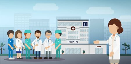 Medical service concept with doctors and staffs vector illustration