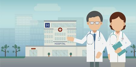 Medical service concept with doctor and hospital building vector illustration