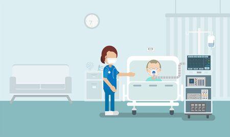 Medical service concept with elder patient and ventilator flat design vector illustration Vectores