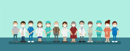 Group of doctors with patients wear masks flat design vector illustration