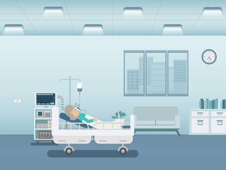 Medical service concept with elder patient and ventilator flat design vector illustration Vektorové ilustrace
