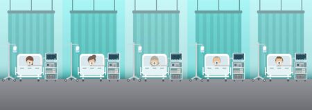 Medical service concept with group of patients and ventilators flat design vector illustration