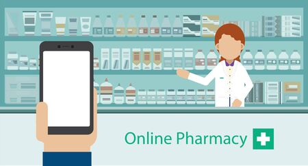 Online Pharmacy concept with empty screen mobile phone and pharmacy vector illustration