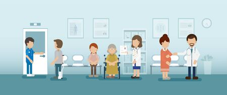 Doctor with patient in waiting area vector illustration Illustration