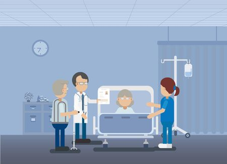 Doctor with elder patient in bed flat design vector illustration Illustration