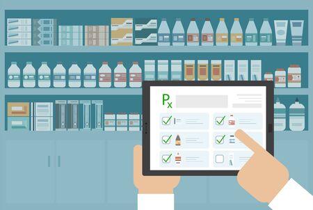 Online Pharmacy concept with prescription on digital tablet vector illustration