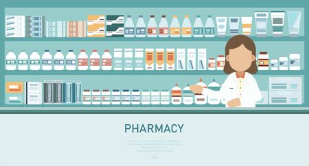 Medical banner with pharmacy counter and pharmacist vector illustration