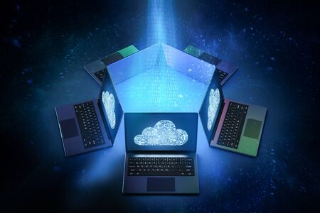 3d rendering group of computer notebooks connect with cloud technology