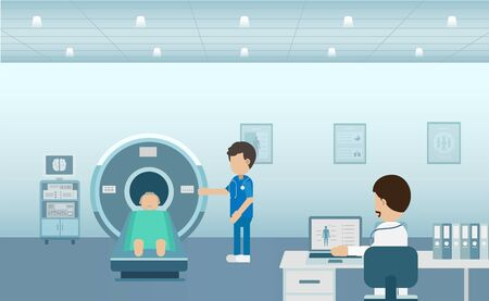 Doctor with patient in mri scanner flat design vector illustration