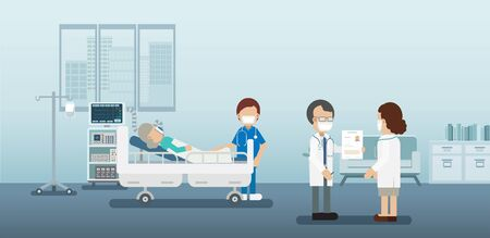 Doctor diagnosis with critical patient and ventilator flat design vector illustration Vectores