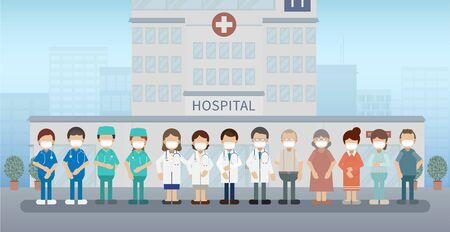 Group of doctors with patients wear masks flat design vector illustration Stock Illustratie