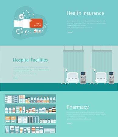 Set of medical banners flat design vector illustration