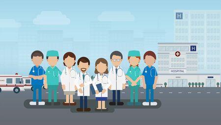 Medical service concept with medical staffs and hospital building vector illustration Vector Illustratie