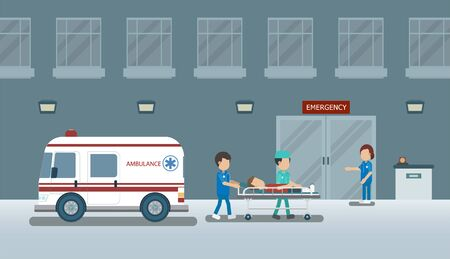 Doctor with injured patient in bed flat design vector illustration