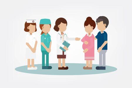 Gynecologist with pregnant woman flat design vector illustration Illustration