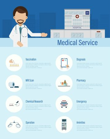 Medical service infographic with doctors and icons flat design vector illustration