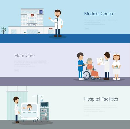 Set of medical banners with doctors and patients flat design vector illustration