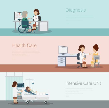 Set of medical banners with doctors and patients flat design vector illustration Ilustracje wektorowe