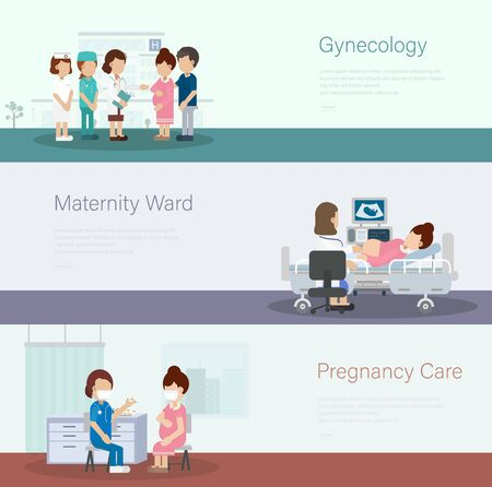 Set of medical banners with doctors and pregnant patients flat design vector illustration