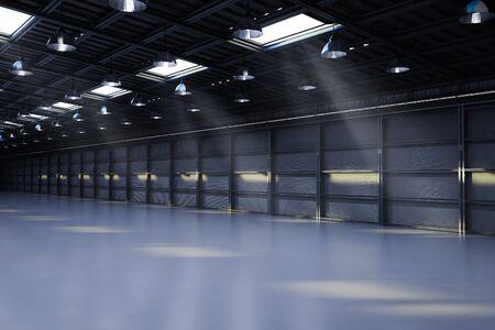 3d rendering interior empty factory with pendant lamps Foto de archivo