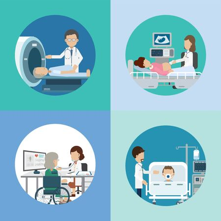 Medical service concept with doctors and patients flat design vector illustration