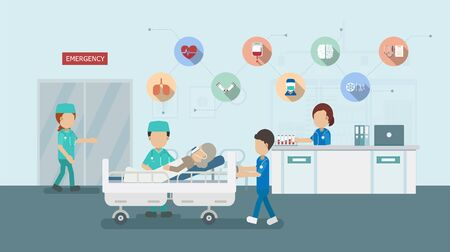 Medical service with doctor and critical patient in bed flat design vector illustration Vektorgrafik