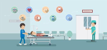Emergency service concepet with doctor and injured patient in bed flat design vector illustration Vectores