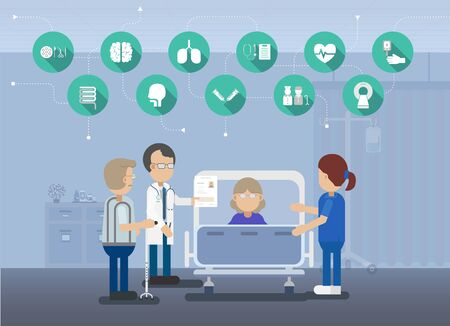 Medical service with doctor with elder patient in bed flat design vector illustration